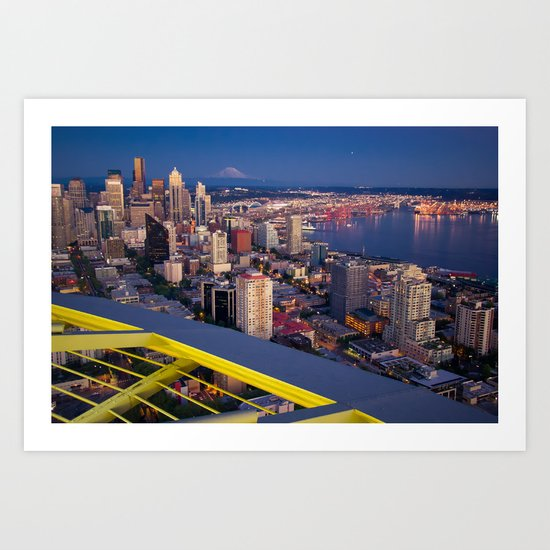 Seattle in the Evening, from the Space Needle Art Print