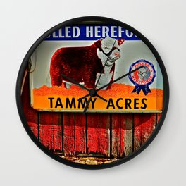 Hereford Cow Barn sign Wall Clock