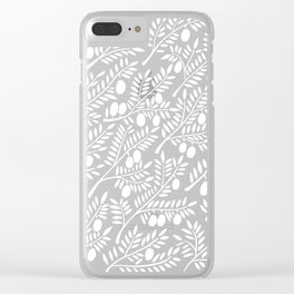 White Olive Branches Clear iPhone Case