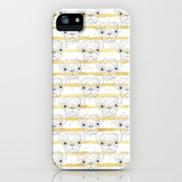 Cute hand drawn pug dog and golden stripes pattern iPhone Case