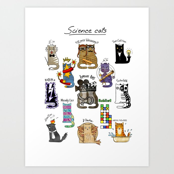 Science cats. History of great discoveries. Physics, chemistry etc Kunstdrucke