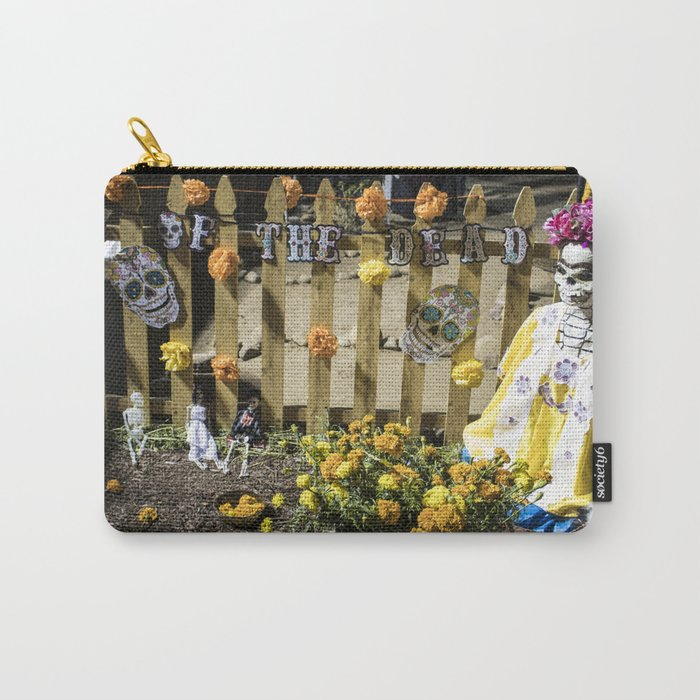 Day of the Dead Cemetery Altar with Marigolds and Frida Kahlo Skeleton Lady Carry-All Pouch