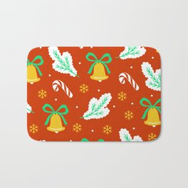 Christmas Bells and Candy Canes Pattern Bath Mat