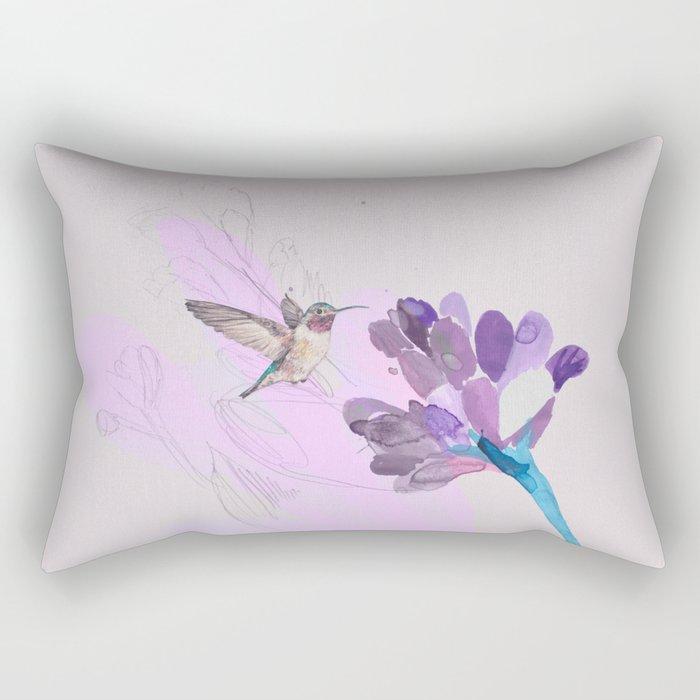 Hummingbird with purple flower watercolor Rectangular Pillow