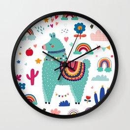 Baby Design Cute Llama Rainbows Wall Clock
