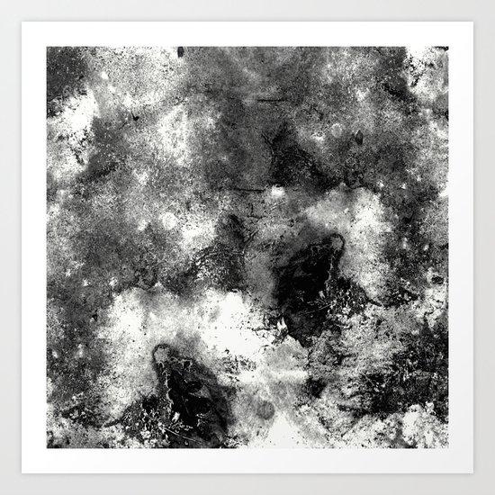 Deja Vu - Black and white, textured painting Art Print
