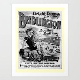 retro noir et blanc Bridlington Art Print