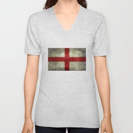 Flag of England (St. George's Cross) Vintage retro style Unisex V-Neck