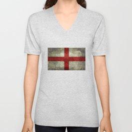 Flag of England (St. George's Cross) Vintage retro style Unisex V-Neck