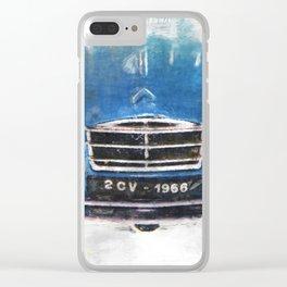 2 CV Citroen front blau Clear iPhone Case