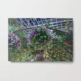 Ring of Violet & White Flowers Metal Print