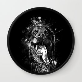 rottweiler dog long tongue wsbw Wall Clock
