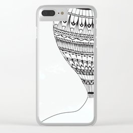 Fly Away Balloon B&W Clear iPhone Case