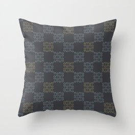 Gray Abstract Chequered Grid Throw Pillow