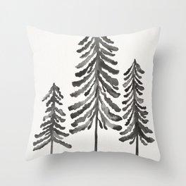 Pine Trees – Black Ink Throw Pillow