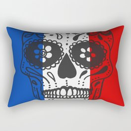 Mexican Skull With French Flag Rectangular Pillow