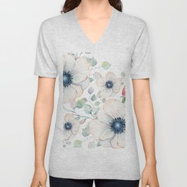 Summer Flowers White #society6 #buyart Unisex V-Neck