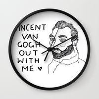 cactei Wall Clocks featuring Vincent Van Gogh ... Out With Me by ☿ cactei ☿