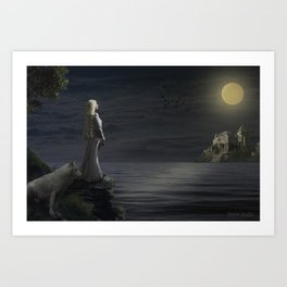 A girl and her white wolf in the moonlight Art Print