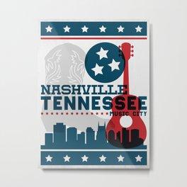 Nashville Tennessee Music City - Hatch Show Print Metal Print