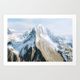 Snowtopped Mountain high in the Alps – Landscape Photography Art Print