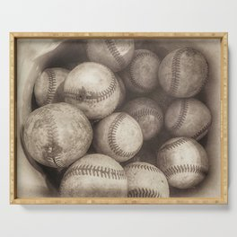 Bucket of Old Baseballs in Sepia Serving Tray