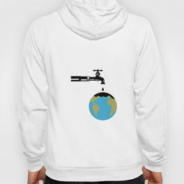 Faucet Dripping Water on Globe Retro Hoody