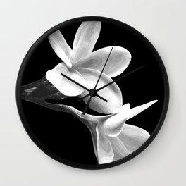 White Flowers Black Background Wall Clock