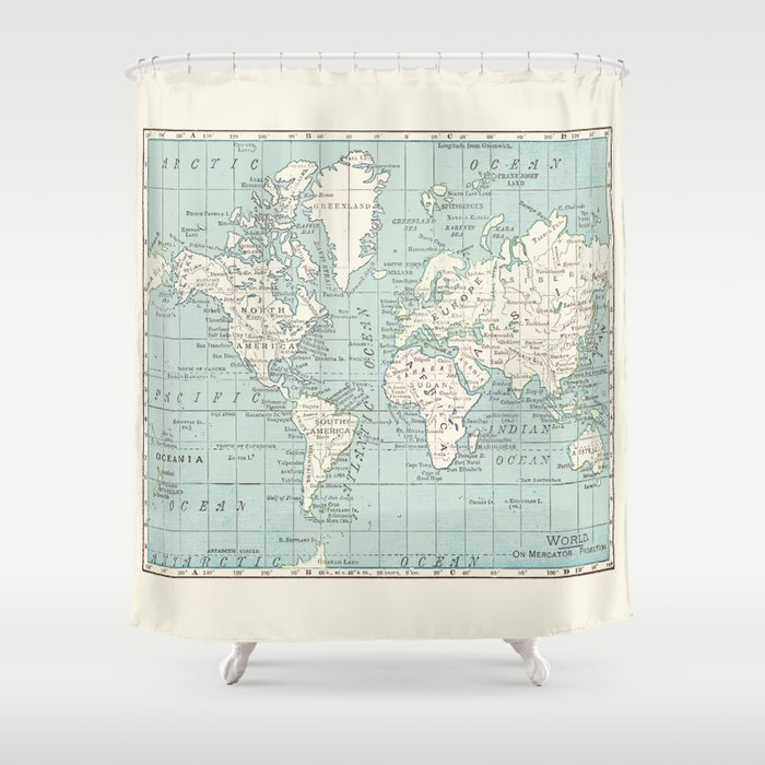 World Map In Blue And Cream Shower Curtain