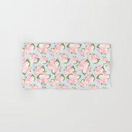 Pink Roses on Blue Polka Dots Hand & Bath Towel