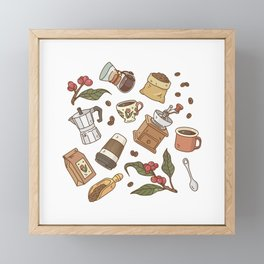 Coffee Break Pattern  Framed Mini Art Print