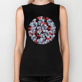 Leaf and Berry Sketch Pattern in Red and Blue Biker Tank