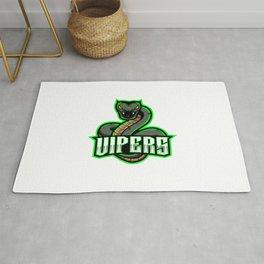 Green Viper Snake Mascot Logo Design Rug