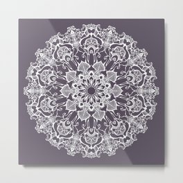 hand drawn white mandala on dark violet background Metal Print
