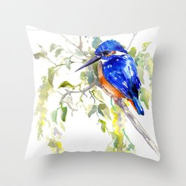 Kingfisher on the Tree Throw Pillow