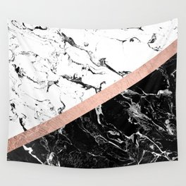Modern black white marble color block rose gold Wall Tapestry