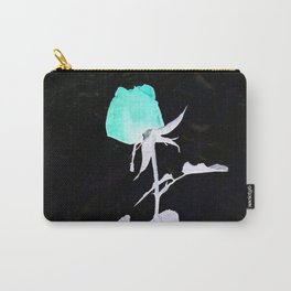 Single Rose aqua black and white Abstract design Carry-All Pouch