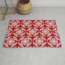 Japanese Medallion Pattern, Deep Red and White Rug