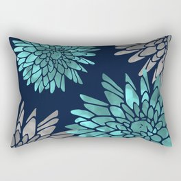 Floral Chrysanthemum Modern Navy Aqua Rectangular Pillow