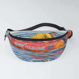 Abstract Surf rescue boat in action Fanny Pack