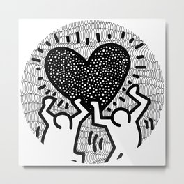 Keith Haring - heart Metal Print