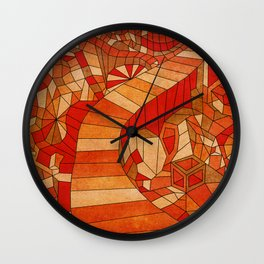 Path in brown and orange 3d landscape Wall Clock