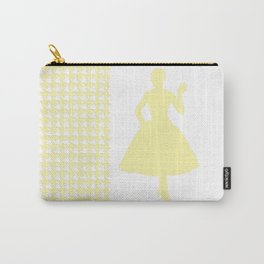 Cream Modern Houndstooth w/ Fashion Silhouette Carry-All Pouch