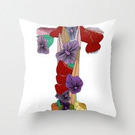 Floral LetterT Throw Pillow