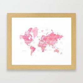Pink detailed watercolor world map with cities Azalea Framed Art Print