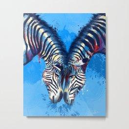 Friendship - Zebra portraits Metal Print