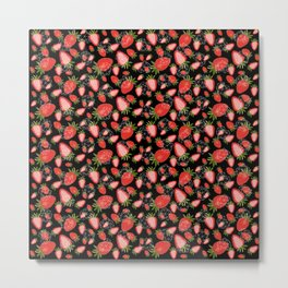 Cute strawberry and geometric heart pattern on black Metal Print