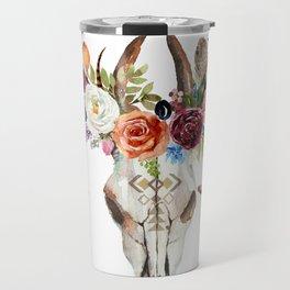 Colorful flowers & feathers dreamcatcher bull skull Travel Mug