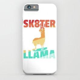LLama Skateboard Skate Skater Retro iPhone Case