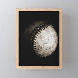 Battered Baseball in Black and White Framed Mini Art Print
